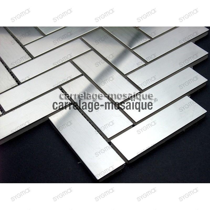 Mosaico acero suelo y muro cocina baton rompu muestra