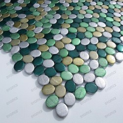Aluminium mosaic sample for splashback worktop oval vert sample