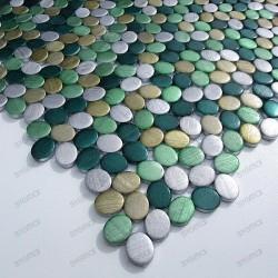 Mosaique cuisine aluminium oval vert ech