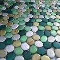 Aluminium mosaic sample for splashback worktop oval vert sample
