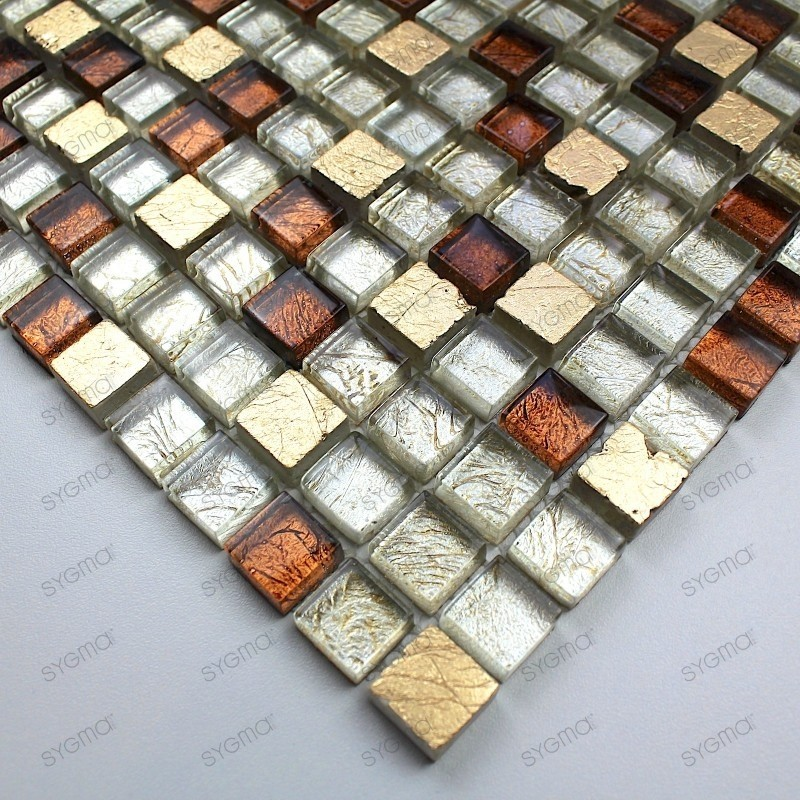 Glass and stone mosaic sample for shower Siam