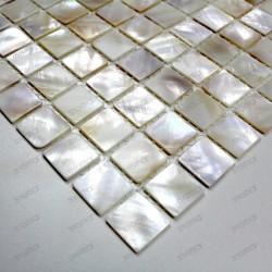 Suelo ducha en mosaico de madreperla muestra Odyssee blanc