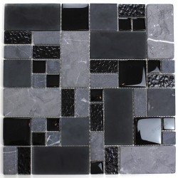 Glass and stone mosaic sample for shower Shadow