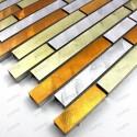 Aluminium mosaic sample splashback Blend Jaune