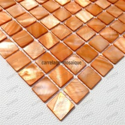 Mother of pearl mosaic sample Nacarat Orange