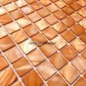 Suelo ducha en mosaico de madreperla muestra Nacarat Orange