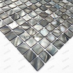Mother of pearl mosaic for shower Odyssee Gris sample