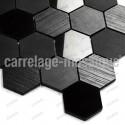 Mosaico de piedra para cocina y ducha color negro Carbone Hex