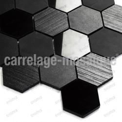 Stone mosaic for kitchen splashback or shower Carbone Hex