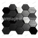 Stone mosaic for kitchen splashback or shower Carbone Hex