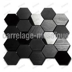 Mosaique credence de cuisine ou douche Carbone Hex