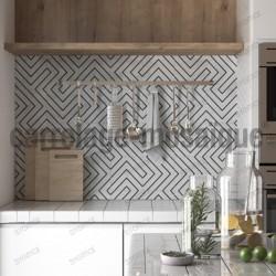 Carreaux ciment imitation douche salon patchwork joyle