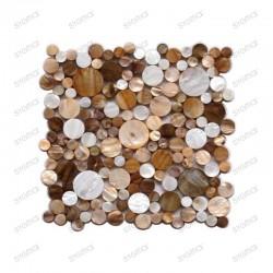 Suelo ducha en mosaico de madreperla muestra redondo marron