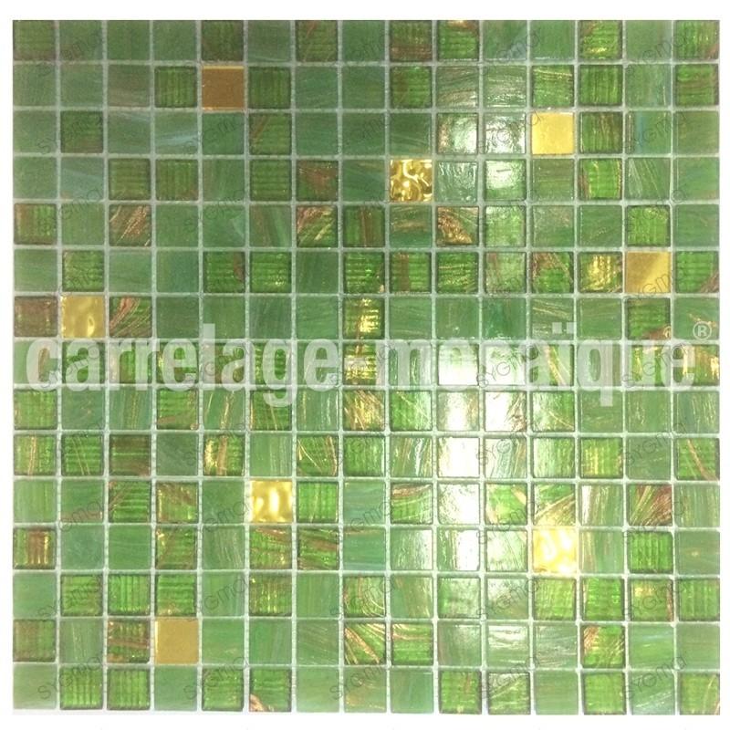 Mosaique salle de bain douche hammam Goldline Vert - carrelage-mosaique