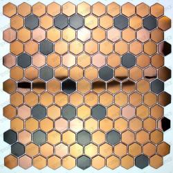 mosaico cobre ducha acero muro y suelo cocina baño in-duncan