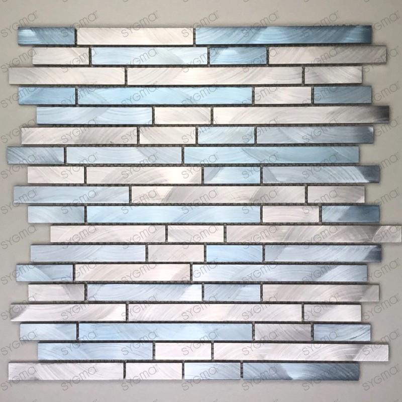 Mosaique en aluminium pour mur cuisine et salle de bain blend-bleu