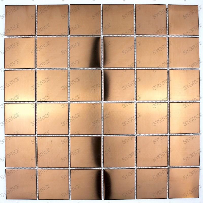 Baldosa de acero inoxidable color cobre para cocina o baño reg48-cuivre