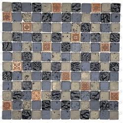 Malla mosaico de pared para baño y ducha o cocina modelo metallic-noir