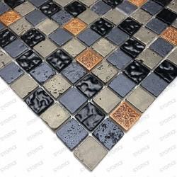 Carrelage mosaique verre et pierre 1 plaque METALLIC NOIR