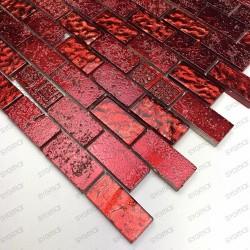 Mosaique pour mur salledebain et douche modele metallic brique rouge