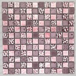Azulejo mosaico de vidrio y piedra Alliage Rose