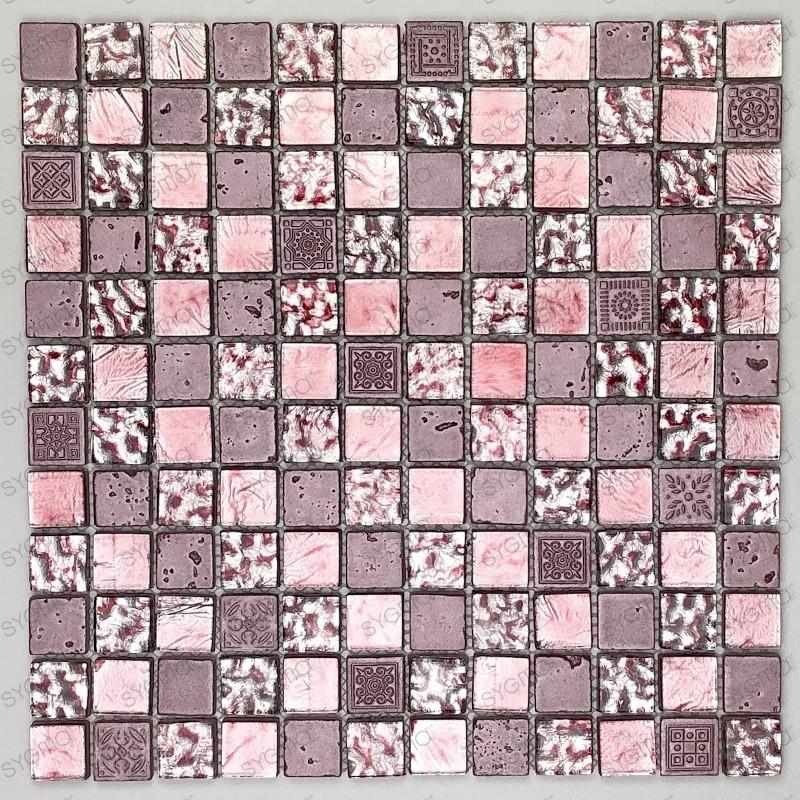 Carrelage mosaique verre et pierre metallic rose carrelage mosaique - Mosaique et carrelage ...