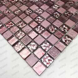 Carrelage mosaique verre et pierre Alliage Rose