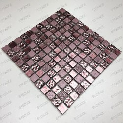 Tile mosaic glass and stone Alliage Rose