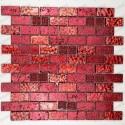 Mosaico vidrio y piedra 1m2 modelo metallic brique rouge