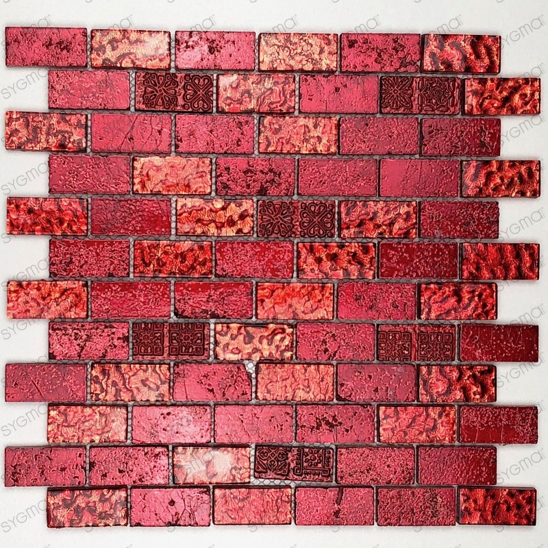 Tile mosaic glass and stone model 1 sqm metallic brique rouge
