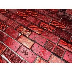 Tile mosaic glass and stone model 1 sqm metallic brique rouge