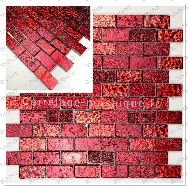 Echantillon mosaique carrrelage salle de bain mvp-metallic brique rouge