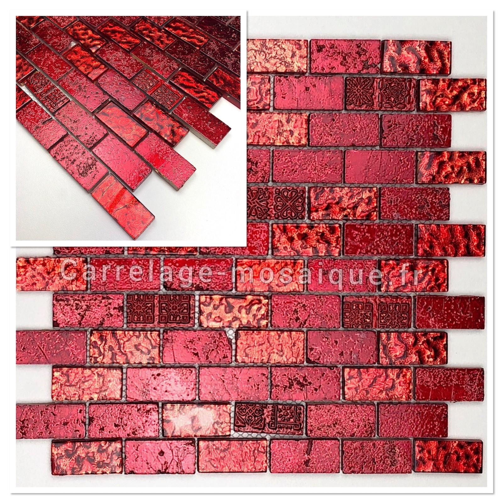 Salle De Bain Brique echantillon mosaique carrrelage salle de bain mvp-metallic brique rouge -  carrelage-mosaique