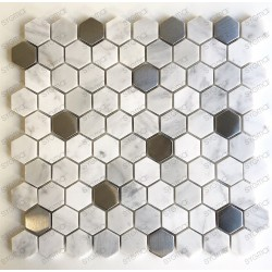 Malla mosaico azulejo hexagonal de piedra para suleo y muro mp-nuno