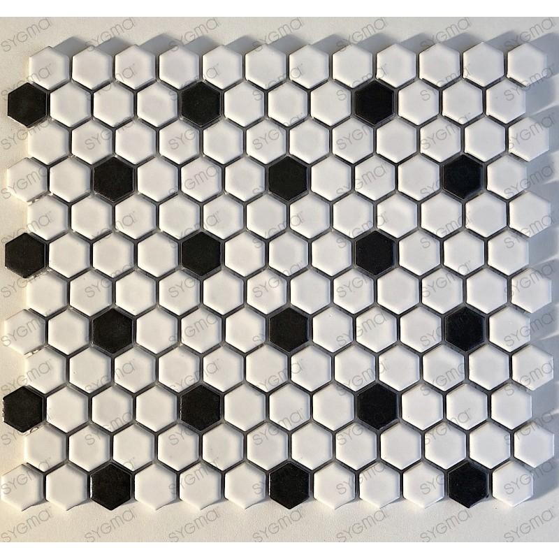 Azlujo mosaico de ceramica blanco y negro para suelo y muro mp-daven