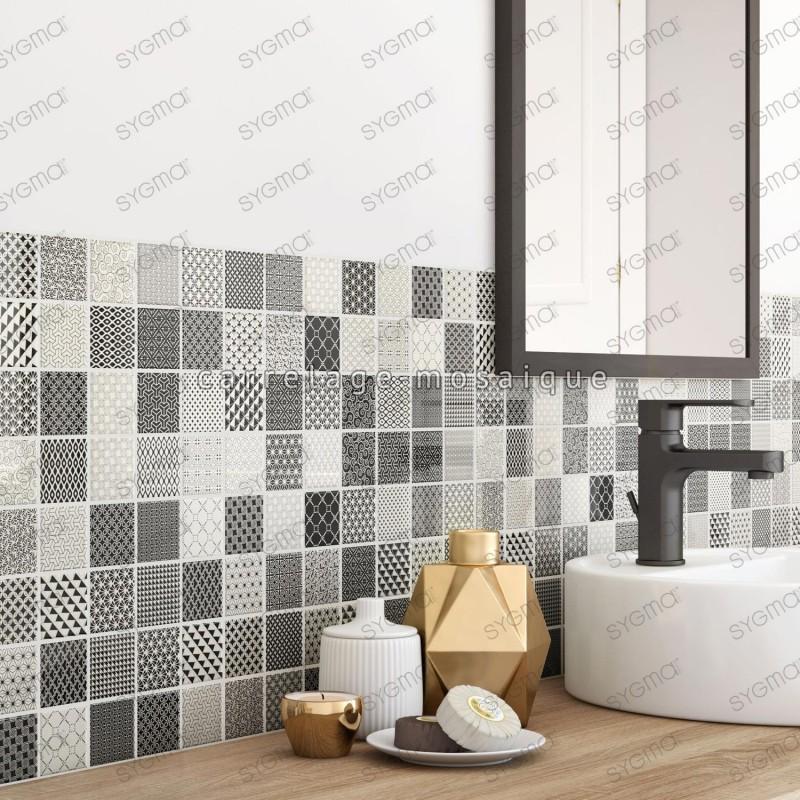 carreaux mosaique murale en verre noir pour cuisine et salle de bain ...