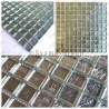Muestra azulejo ducha en mosaico vidrio hedra argent
