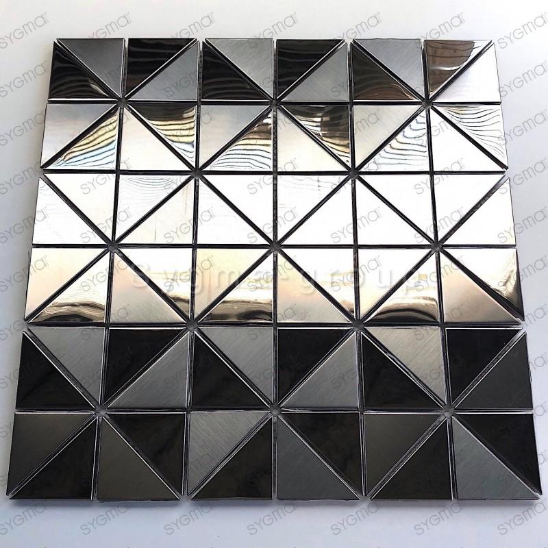 carrelage acier inoxydable miroir et brosse metal modele Kubu