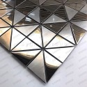 Mirror and brushed stainless steel mosaic tile model Kubu