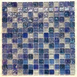 Blue mosaic tiles glass walkin shower Zenith Cyan