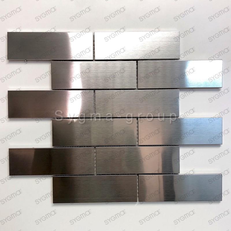 mosaico acero inoxidable cocina ducha Brique 140