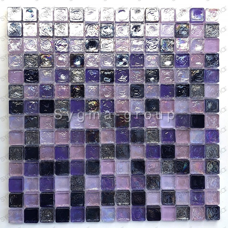 Mosaic tiles glass shower bath Arezo indigo