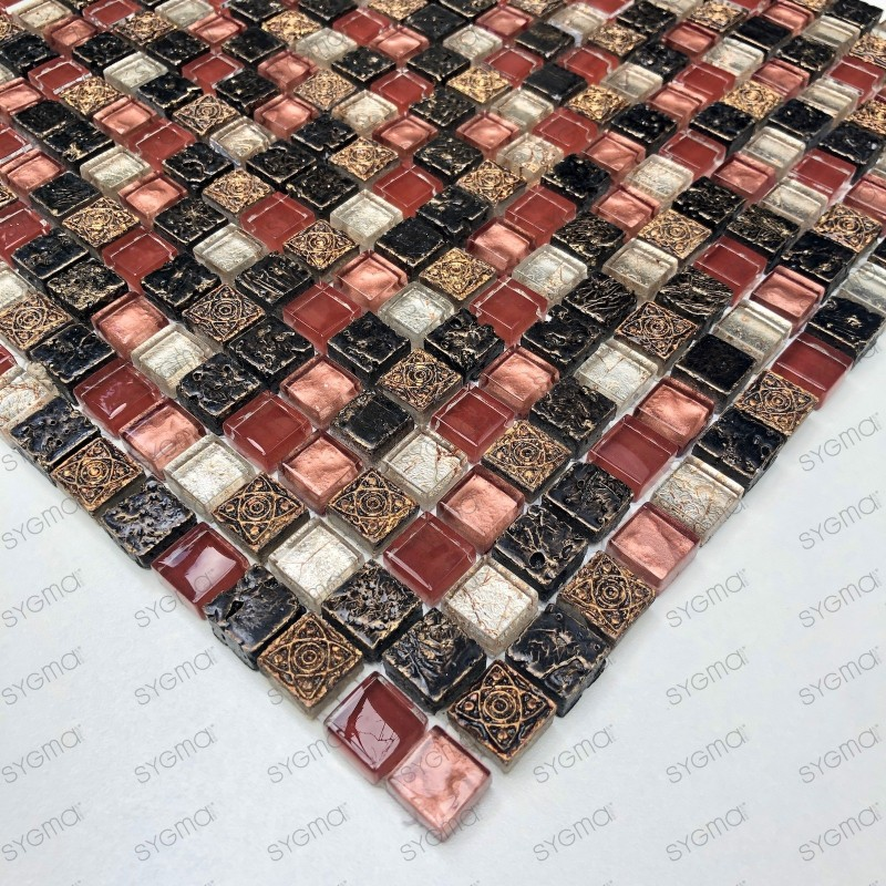 Mosaic bathroom wall and floor 1m Lava