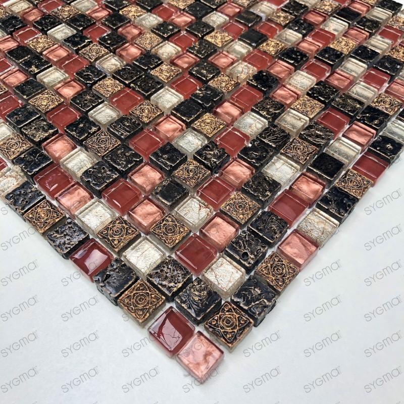 Pared de baño de mosaico y suelo 1m Lava