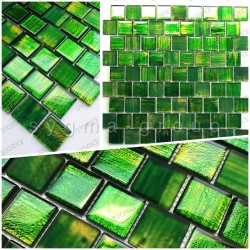 Glass mosaic sample for shower and bathroom drio vert