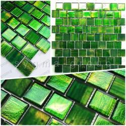 Glass mosaic sample for shower and bathroom drio vert