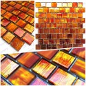Glass mosaic sample for shower and bathroom drio orange