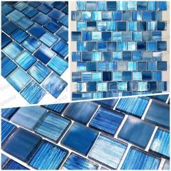 echantillon mosaique de verre salle de bain douche drio bleu