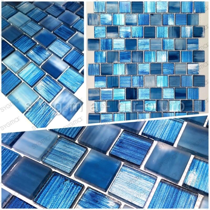 Mosaico de vidrio muestra para ducha y cuarto de bano Drio bleu