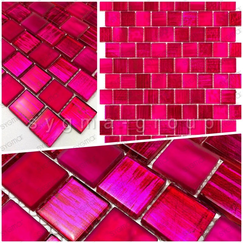 Glass tile mosaic sample for shower and bathroom drio rose